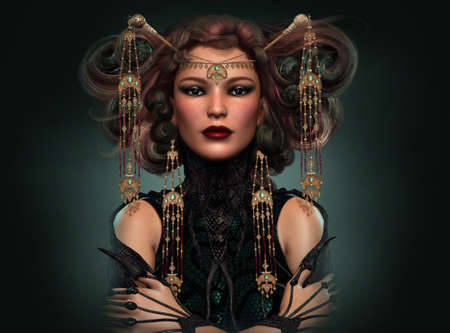 priestess: 3d computer graphics of a Portrait of a distinguished lady with exotic dress and jewelry