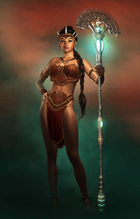 3d computer graphics of a portrait of a female Amazon warrior with fantasy dress and weapon