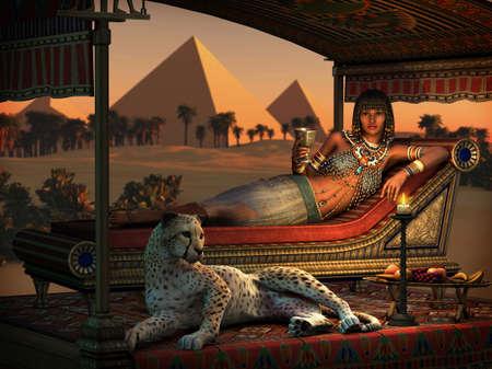 gráficos por ordenador en 3D de una antigua dama egipcia y un guepardo domesticado