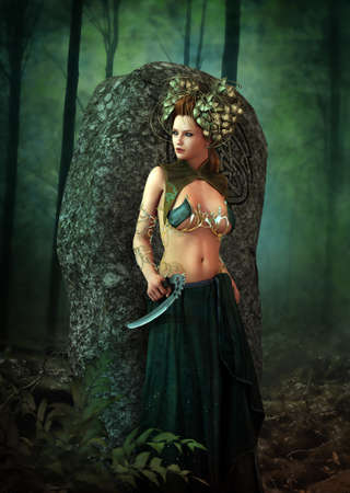 sickle: 3D computer graphics of a female druid in fantasy style