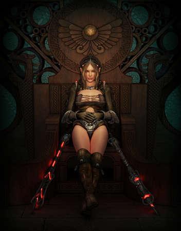 女戦士ファンタジーの服や武器の 3 D コンピュータ ・ グラフィックス