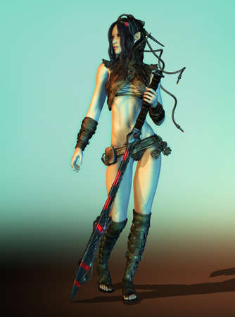 3D computer graphics of a female warrior with fantasy clothing and weapons Stock Photo