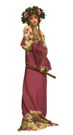 3d computer graphics of a girl with a flute, a romantic dress and a wreath on her head