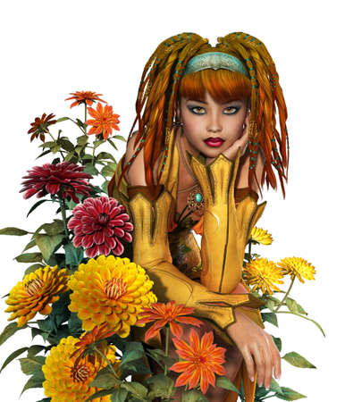 retro woman: 3d computer graphics of girl with dreadlocks is surrounded by dahlias Stock Photo