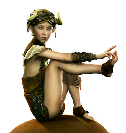 3d computer graphics of a  little fairy with a headgear with horns