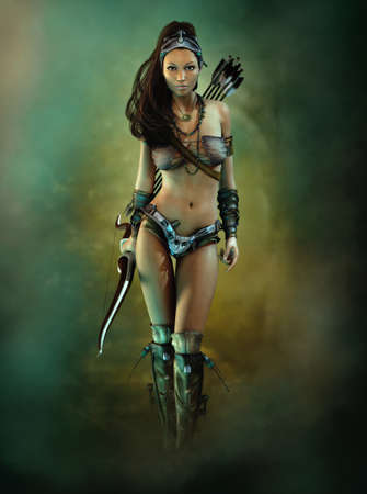 3D computer graphics of a female archer in fantasy adventure game style