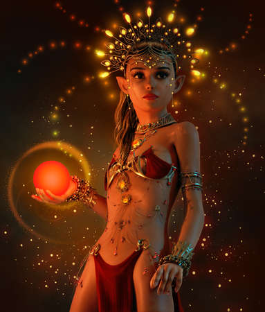 3d computer graphics of a  little fairy with illuminated headdress, jewelry and sphere Stock Photo