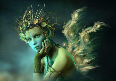 Infographie 3D d'une fée avec des ailes et une couronne de feuilles et une branche sur la tête