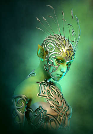 3d computer graphics of an extraterrestrial girl with jewelry and clothing of metal Stock Photo
