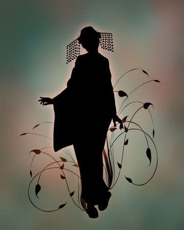 3d computer graphics of a silhouette of a girl with kimono