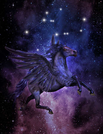 3d computer graphics of Pegasos, the winged horse of the Greek mythology