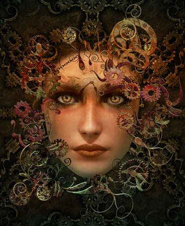 Steampunk Portrait Colour 3d CG Foto de archivo