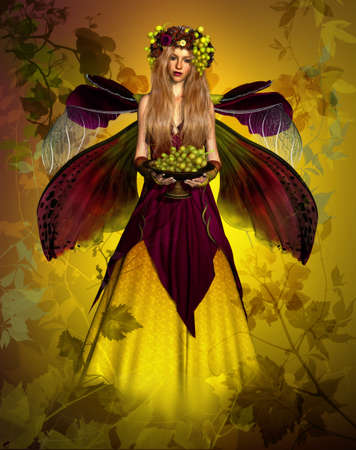 3d computer graphics of a blond elven maiden with a bowl of grapes