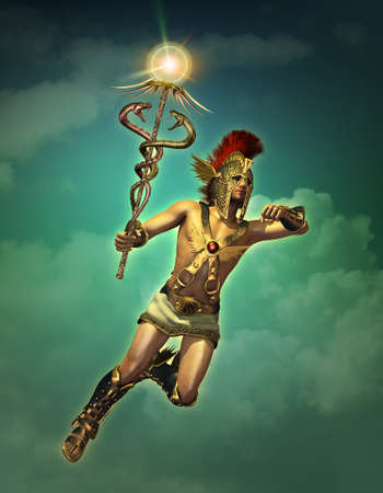 3d computer graphics of a depiction of Hermes at daytime Stok Fotoğraf - 108097404