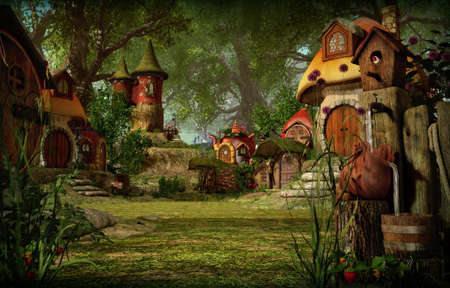 Gráficos 3D por computadora de una aldea con cabañas de elfos. Foto de archivo
