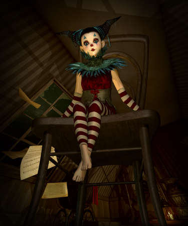3d computer graphics of a lLittle clown sitting on a chair in a loft
