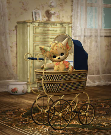 3D computer graphics of a cute plushie sitting in a pram