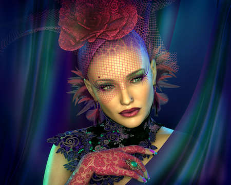 3D computer graphics of a Portrait of a Lady with Fascinator and Gloves