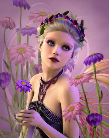 3d computer graphics of a fairylike Girl with daisies and a wreath of flowers on her head