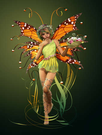 3d computer graphics of a cute fairy with wings and wreath