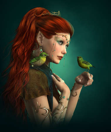 3d computer graphics of an Elven Princess with with two green birds