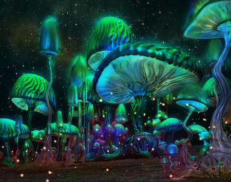 3d computer graphics of a forest of luminous mushrooms Stock Photo