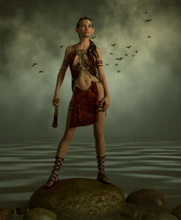 3d computer graphics of an elven lady with fantasy dress, a telescope in her hand