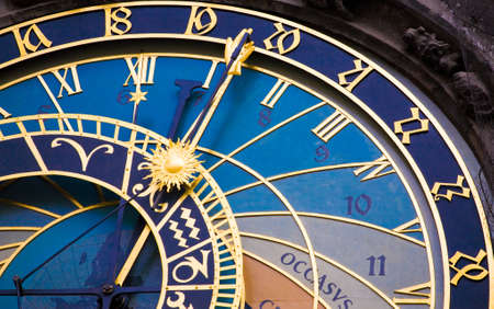 exact science: Detail from the astronomical clock in Prague