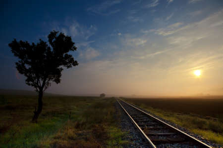 train tracks: Railway tracks in the middle of nowhere Stock Photo