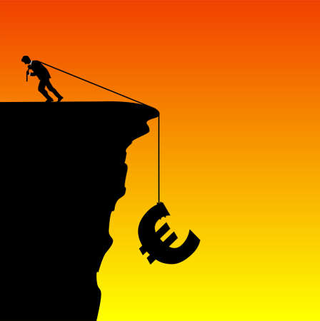 Illustration of a businessman saving the euro from falling illustration