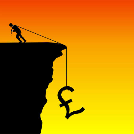 economic recovery: Illustration of a businessman saving the pound from falling
