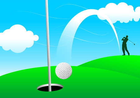 hole in one: Golfer playing a hole in one shot Stock Photo