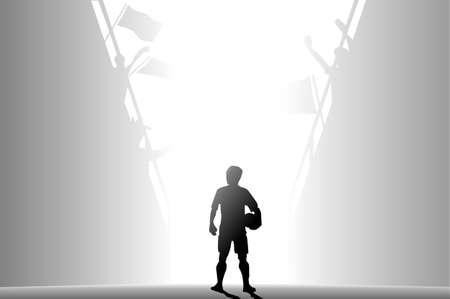Footballer entering pitch photo