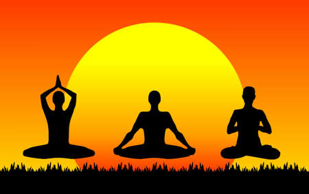 zenlike: Three people meditating with the sun in the background