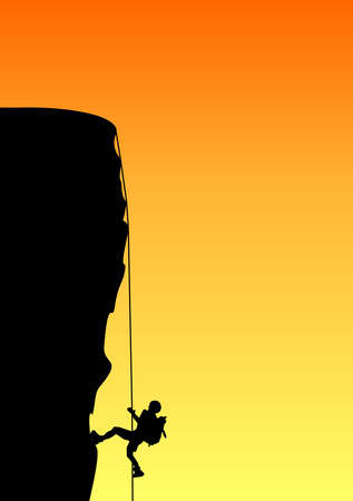 ascent: Illustration of a rock climber in ascent Stock Photo