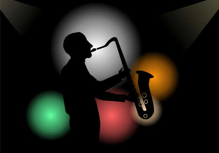 jazzy: Illustration of a saxophone player in a club Stock Photo