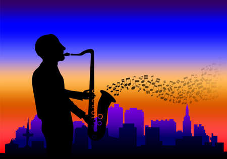 Illustration of a saxophone player with cityscape in the background illustration