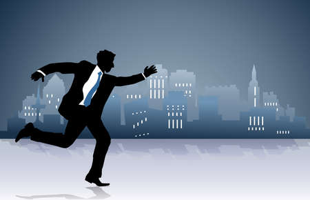 Illustration of a businessman running towards or away from something illustration