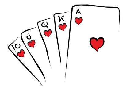 straight flush: Illustration of straight flush with hearts
