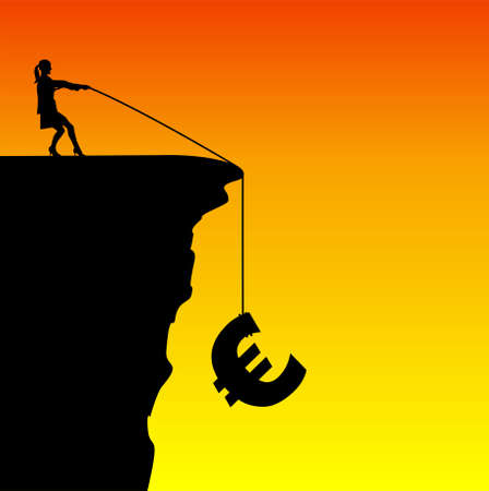 economic recovery: Illustration of a businesswoman saving the euro from falling