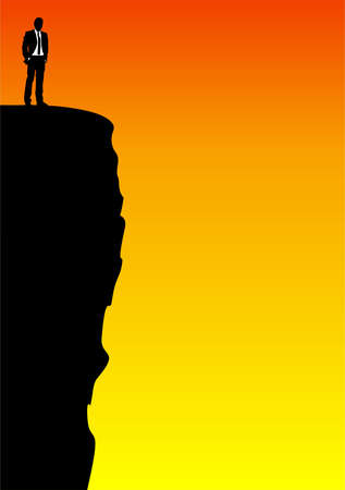 cliff edge: Illustration of a businessman standing on the edge od a cliff
