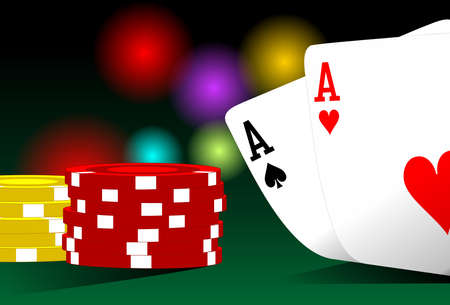 Illustration of pocket aces on a poker table illustration
