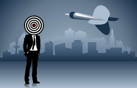 endangerment: Businessman with a target instead of a head and a dart flying towards him Stock Photo