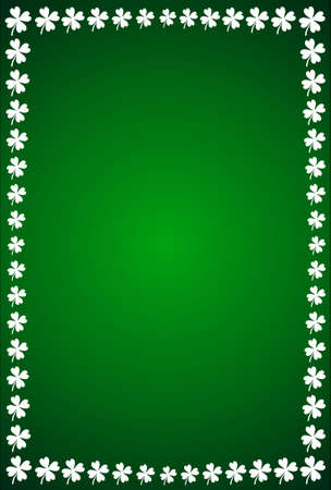 Frame made from clovers on dark green background Stock Photo - 17807182