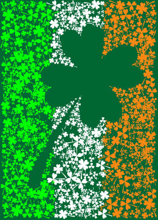 saint paddy's: The Irish flag made from clover leaves in different colors