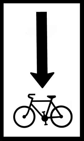 Black and white sign for a bycicle road
