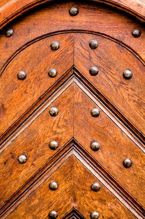 large doors: Detail from old wooden door Stock Photo
