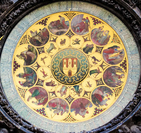 12 month old: The signs of the zodiac - detail from the astronomical clock in Prague