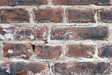 washed out: Photo of several bricks from an old brick wall. The bricks are heavily textured, washed out and colored.