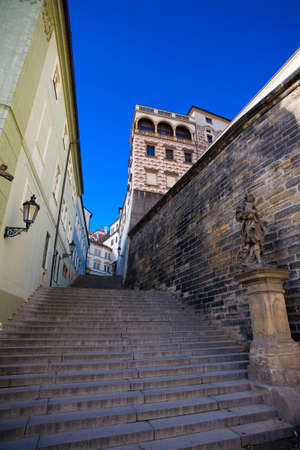 central europe: View of a stairway in Prague, Central Europe